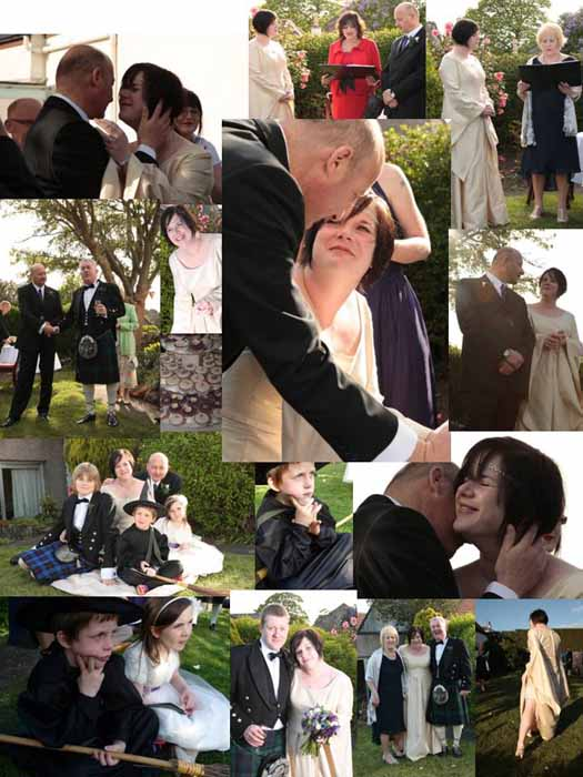 A collage of the wedding day on 2-5-2009